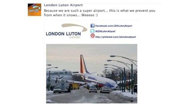 Luton airport social media fail