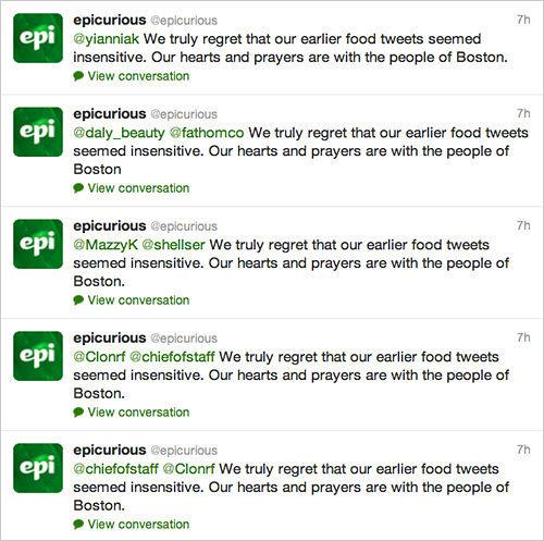 Epicurious Boston social media