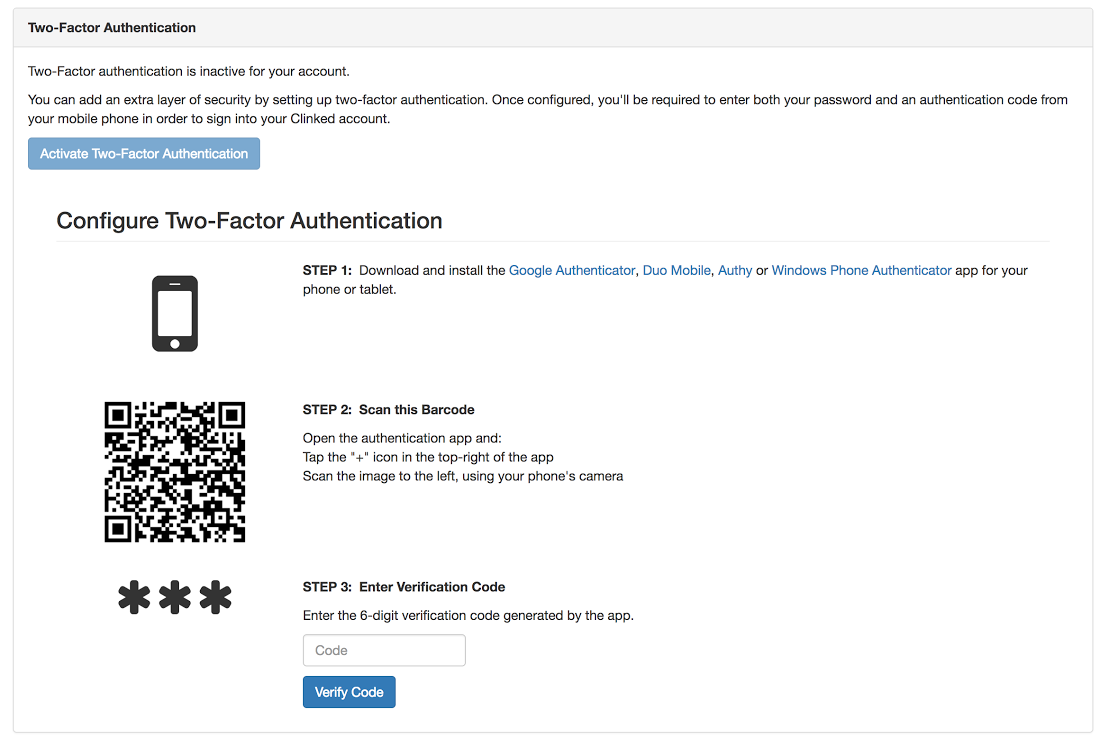 Clinked two factor authentication feature